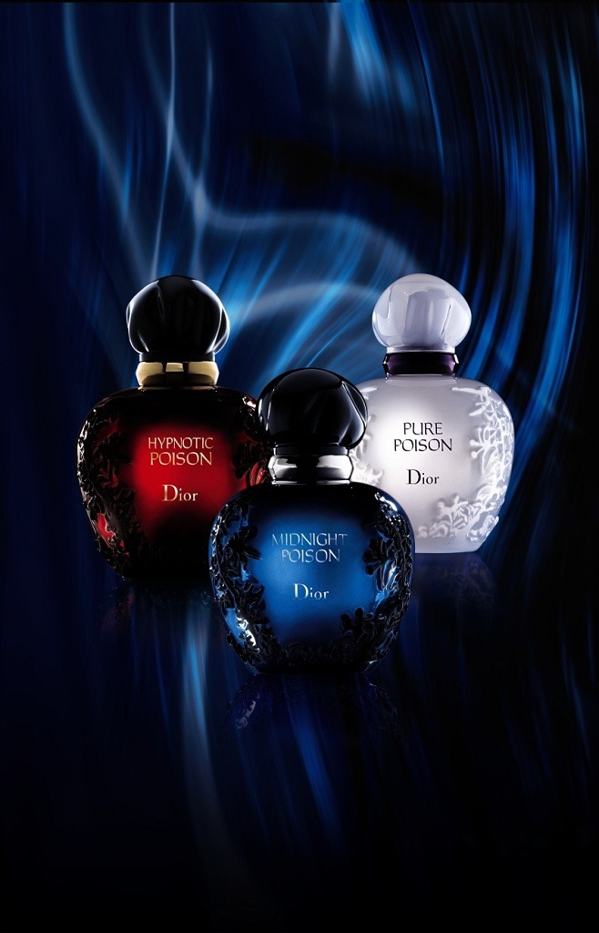 Dior trio of parfums Hypnotic Poison, Midnight Poison and Pure Poison