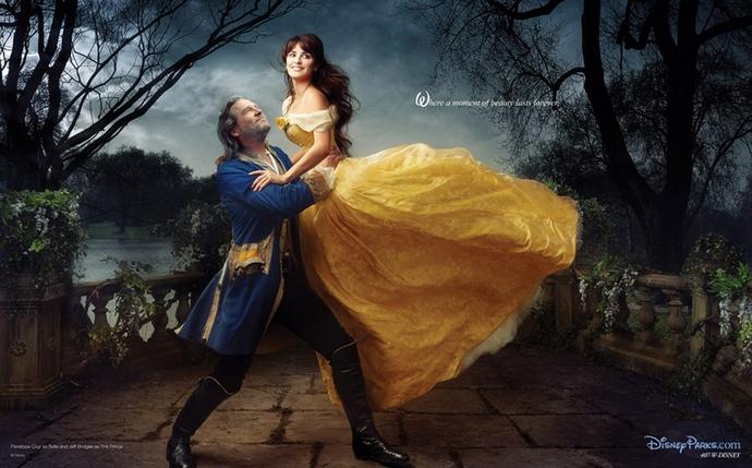 Jeff-Bridges-Penelope-Cruz-as-Beauty-and-the-Beast-Disney-Characters-Fashion-Design-Weeks