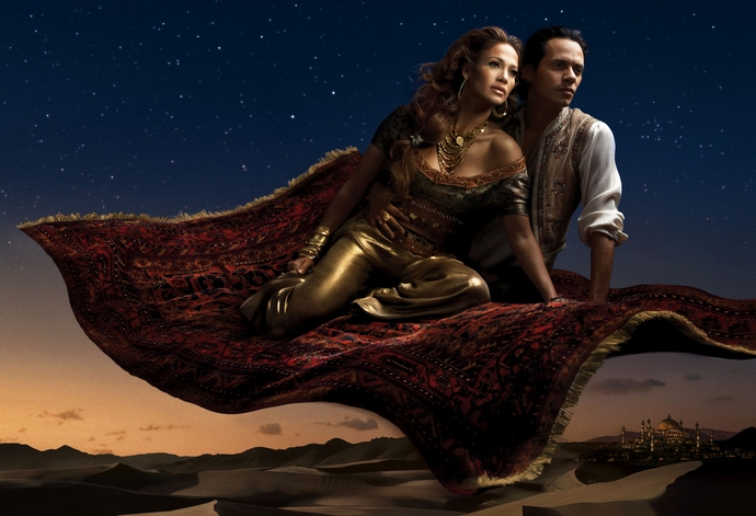 Jennifer-Lopez-and-Marc-Anthony-as-Jasmine-and-Aladdin-Disney-Characters-Fashion-Design-Weeks
