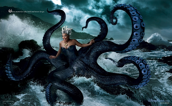 """""""Where memories take hold and never let go"""" Queen Latifah as Ursula - Disney Dream Portrait by Annie Leibovitz"""